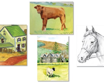 Series of Four Handmade Blank Cards - Around the Farm