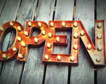 """12""""x30"""" Steel Marquee OPEN SIGN with back, rusty"""