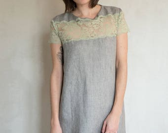 Grey linen and lace dress