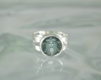 STARBUCKS Adjustable Silver Tone Ring