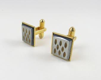 Vintage Cuff Links, Quicksilver Gunmetal Gray, Goldtone, Sarah Coventry Rectangle Cufflinks