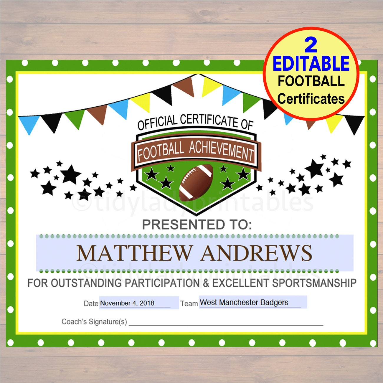 Editable football award certificates instant download team zoom 1betcityfo Gallery