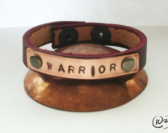 Warrior leather and copper bracelet 6-7 inch wrist