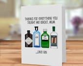 Gin card for Mum, Mum Gin...