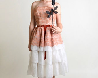 1950s Party Dress in Salmon Spice and White - Strapless with Velvet Bow - Medium Tea Length Wedding Reception Dress