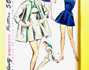 1950's Simplicity 1607 Vintage Sewing Pattern Misses' and Women's Bathing Suit and Coat Skirted Swimsuit Vintage Sewing Pattern Bust 34