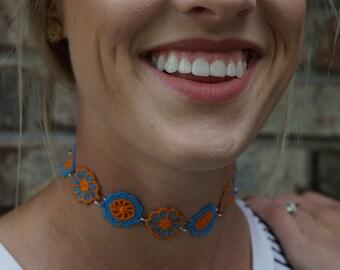 Blue and Orange Floral Choker
