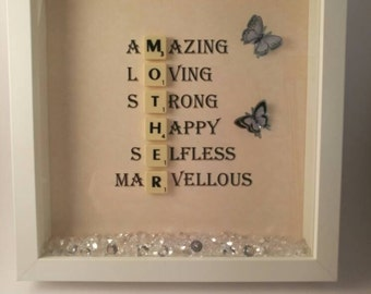 Mother scrabble memory frame/ mother's day/birthday/gift/present