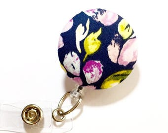 Purple Flower Badge Reel Retractable ID Badge Reel ID Badge Holder Name Badge Clip Badge Pull Nurse Badge Reel Retractable Badge Holder