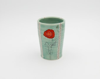 Ceramic Poppy Tumbler // clay cup, pottery tumbler, porcelain tumbler, wheelthrown pottery, handmade pottery, green cup, flower cup, poppy