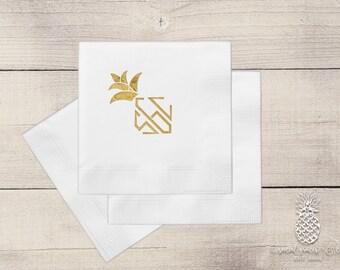 White Cocktail Napkins • Pineapple Diamond Monogram • Tropical Party Theme Wedding Napkin • Letterpress Foil • Metallic Gold