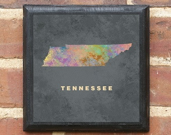 Tennessee TN Splatter Watercolor Painting Wall Art Sign Plaque Gift Present Personalized Color Custom Home Decor  Memphis Nashville Classic