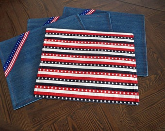 Americana Denim and Cotton Placemats - Set of 4