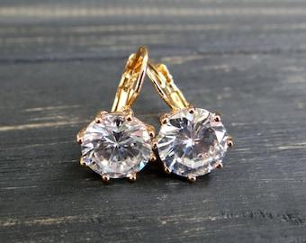Vintage Gold plated earrings fashion earrings gift for mom wedding earrings bridal earrings  gold tone christal earrings christal wife gift