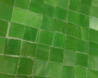 "75 LUCKY LEPRECHAUN GREEN Tile  3/8"" Stained Glass Mosaic Supply A35"