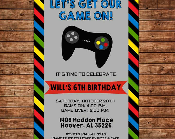 Boy or Girl Invitation Video Game Gaming Truck Birthday Party - Can personalize colors /wording - Printable File or Printed Cards