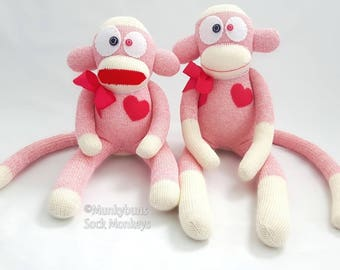 Traditional PINK Rockford Red Heel Sock Monkey Doll - Embroidered Name Included in Price!