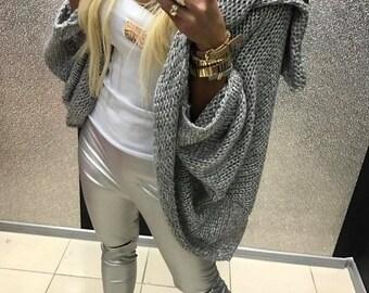 Lara Grey/Pink Large Knitted Cardigan
