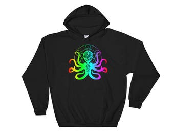 Edm Festival clothing Rave clothing Octopus hoodie Octopus Techno Kraken Hippie clothes Burning man clothing Rave outfit Rave Nautical