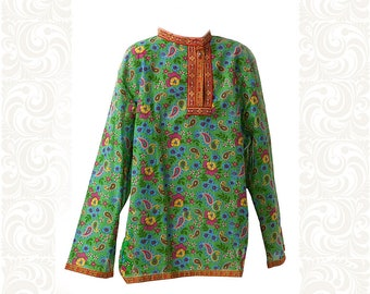 Cotton shirt for men and boys, Funny style, Slavic kosovorotka, Russian costume, Festive clothes, Russian  traditional clothes