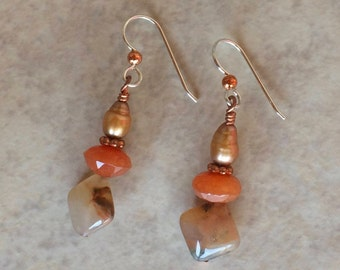 Copper Carnelian Earrings