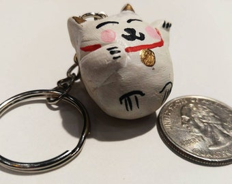 Cute Maneki Neko Lucky Cat Keychain