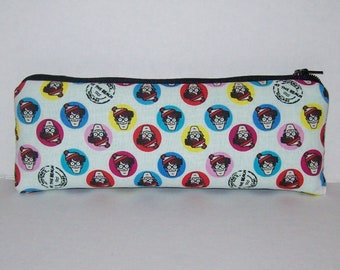 """Pipe Pouch, Where's Waldo Bag, Pipe Bag, Pipe Case, Glass Pipes, Pipe Cozy, Padded Pipe Pouch, 420, Zipper Bag, Smoke Accessory - 7.5"""" LARGE"""