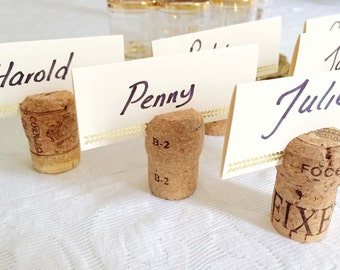 FREE SHIPPING | Champagne Cork Place Card Holders: Authentic and Handcut