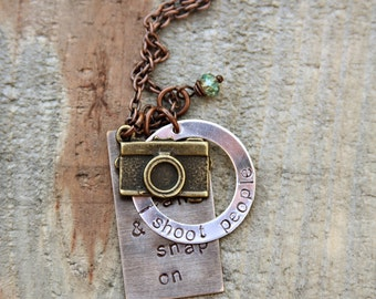 Mixed metal photographer necklace - keep calm and snap on, i shoot people