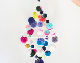 Colorful Large Pom Pom Mobile / Chandelier in Multicolor