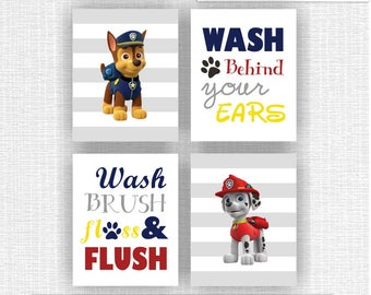 INSTANT DOWNLOAD Paw Patrol Bathroom Wall Decor, Wash Brush Floss Flush, Wash behind your ears, Paw Patrol Baby Prints Set of 4, 8x10