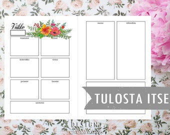 Tulosta itse floral weekly planner printable