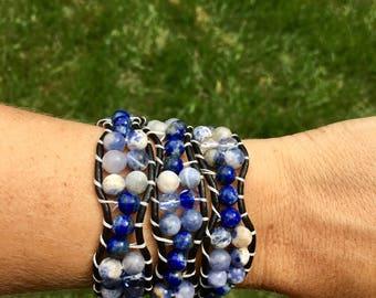 Wrap Bracelet, Blue Wrap Bracelet, Leather Wrap Bracelet, Beaded Wrap Bracelet, Beaded Bracelet, Leather Wrap, YoungBeadsCrafts