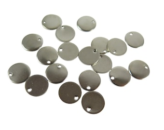Rhodium Plated Engraving Circle Charms - with hole - 10mm (12X) (M553-B)