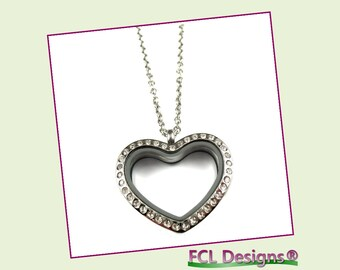 CZ Silver Rounded Heart Floating Charm Locket Necklace
