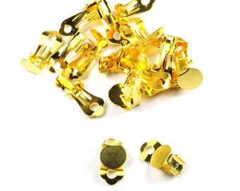 Lot 10 pairs of clips 10 mm gold plate