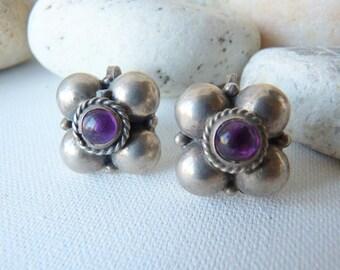 Sterling Silver Amethyst Flower Screw Back Earrings,Vintage Silver Amethyst Earrings,925 Flower Earrings 70's, Vintage Boho Jewelry