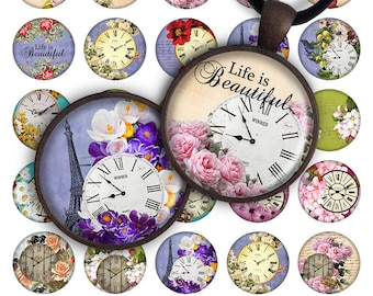 75% OFF SALE Spring Clocks - Digital collage printable download 30mm 25mm circle 1 inch image for pendant glass charm resin image magnets