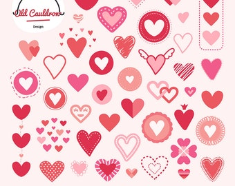 Valentine hearts clipart, hearts clipart, valentines day clipart, love clip art, valentine vector graphics  CL018
