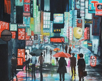 Watercolor of the neighborhood of Shibuya (Japan)