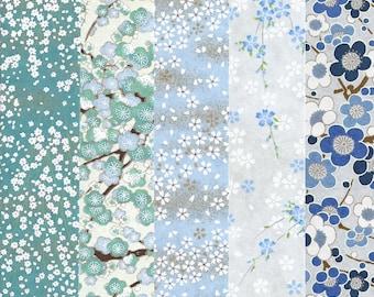 Blue Floral No. 2 Five Piece Chiyogami / Yuzen Japanese Paper Assortment