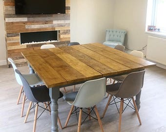 dining table, country dining table, rustic dining table, reclaimed wood table, large dining table, square dining table