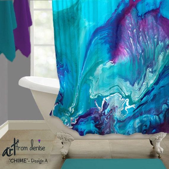 Shower Curtain Aqua Purple Bathroom Decor Abstract Art Teal