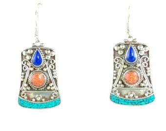 Tibetan earrings inlaid