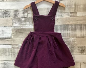 Purple Corduroy Pinafore - Purple Girls Pinafore Dress - Dungaree Dress - Toddler Pinafore Dress - Purple Baby Dress - Baby Pinafore Dress