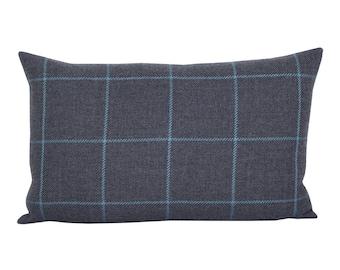 Bancroft Wool Plaid lumbar pillow cover in Oxford Grey