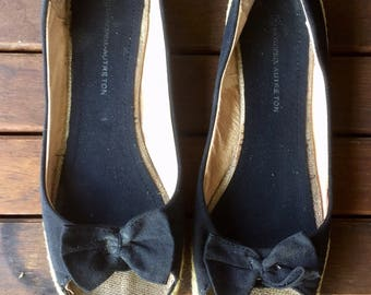 Ballerinas, shoes, Black canvas and rope, leather interior, open toe, bow on top, size 40, US 8