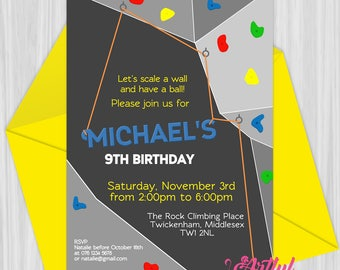 Printable Rock Climbing Party Invitation | Personalized