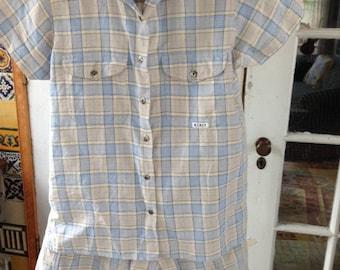 80's linen cotton short set