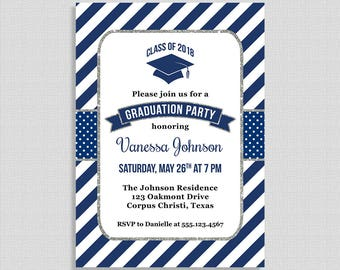 Graduation Party Invitation, Navy Blue Stripe Invite, Class of 2018, Navy and Silver Glitter, DIY PRINTABLE